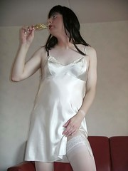 White (Paula Satijn) Tags: white stockings shiny champagne tgirl transvestite slip satin nightdress nighty nightie