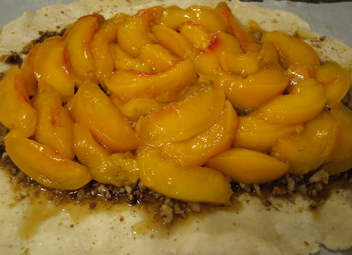 peaches on pastry