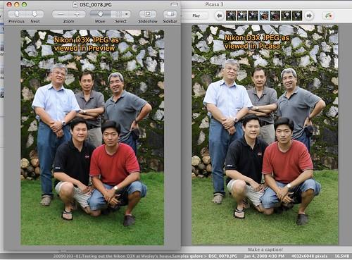 JPEG color rendition, Preview vs Picasa