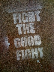 Fight The Good Fight (DigitalCzech) Tags: stencil tag spraypaint iphone fightthegoodfight