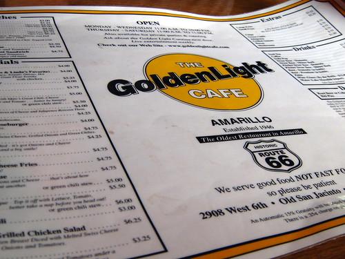 Golden Light's Menu