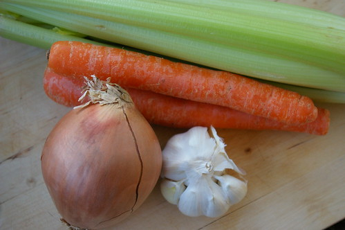 Carrots, onions, celery and garlic