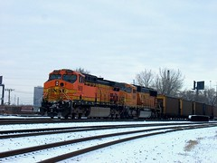 Southbound BNSF Railway unit coal train waiting for clearance north of Brighton Junction. Chicago Illinois. January 2007.