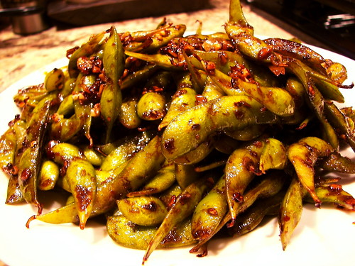Stir Fried Edamame with Garlic and Chile