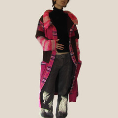 Discipline - Recycled coat (Recycled by Hyena) Tags: pink winter vintage knitting warm recycled handmade linen buttons coat crochet yarn hyena lining handspun handyed plaif recycledbyhyena maryjaneattics