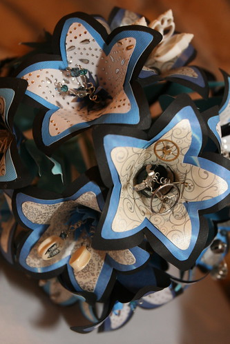 Katie 39s blue black and white bouquet was made by her friend Kellie