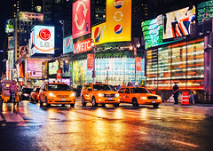 New York - Times Square - Wet Streets (Philipp Klinger Photography) Tags: street new york city nyc trip travel light red vacation people orange usa holiday cinema ny streets color colour reflection ice wet water rain bike yellow night america reflections square lights us al nikon colorful theater dof traffic state cola theatr
