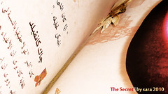 The Secret (harp92) Tags: new red white flower yellow reading book sara break pages secret dry books arabic read page breaktime 2010 ksa thesecret almalki dryen new2010 harp92 saraalmalki