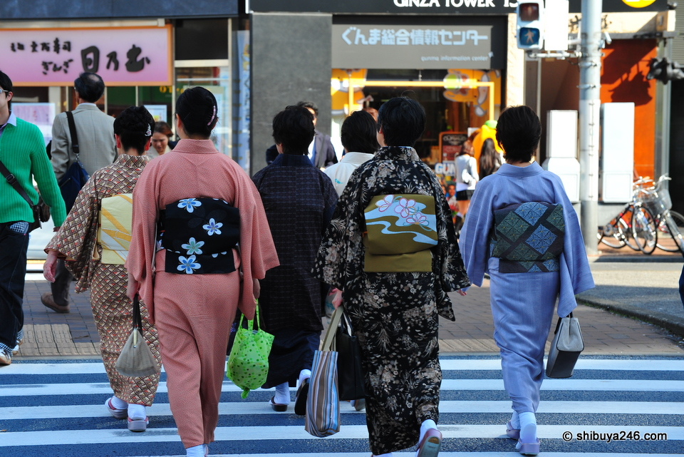 Kimonos on display in the Ginza.