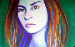 dawnOftomorrow (littleoutrageous) Tags: blue portrait orange green art moleskine drawing greeneyes marker littleoutrage nicolelittle dawnoftomorrow juliakaysportraitparty