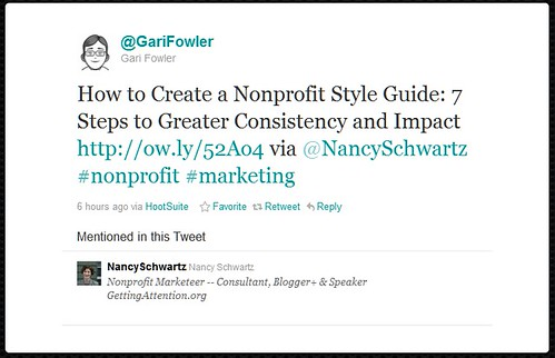 Sample tweet with hashtags, by @GariFowler