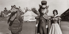 Disneyland Characters Backstage - Early 1960s (Miehana) Tags: california vintage costume disneyland peterpan crocodile characters rocket snowwhite tomorrowland pinocchio twa honestjohn moonliner foulfellow