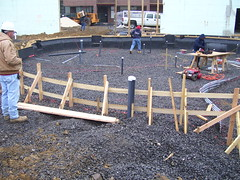 recreation pool continues to take shape with wooden forms being built