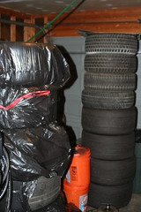Tire stacks in the garage