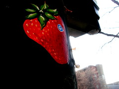 strawberry (drew*in*chicago) Tags: wickerpark chicago pasteup art apple fruit illustration paper strawberry paint acrylic sweet g tasty treat groceries thegrocer drewinchicago