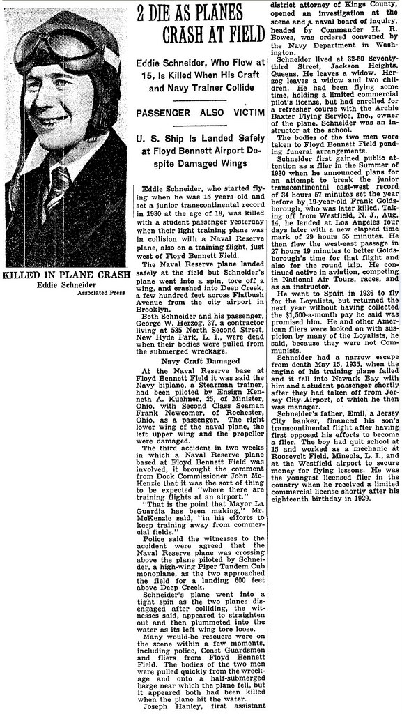 Eddie August Schneider (1911-1940) obituary in the New York Times