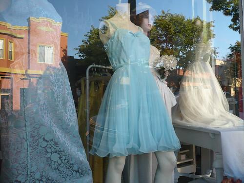 dresses in a window