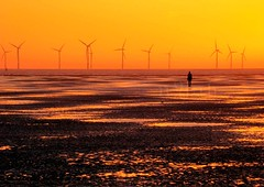 the stare (nyah74) Tags: ocean sunset reflection art windmill silhouette statue liverpool sand atlanticocean southport windfarm crosby anthonygormley anotherplace ironcast colorphotoaward
