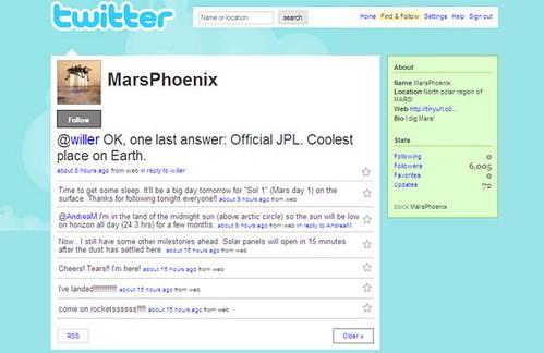 mars phoenix twitter stream