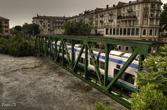Il treno passa.... (franz75) Tags: bridge italy train d50 river nikon italia fiume railway dora ponte piemonte piedmont treno hdr ivrea piena ferrovia canavese