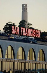 ferry building 608 (pbo31) Tags: sf sanfrancisco california ca city pink summer sky urban usa color clock sign northerncalifornia june architecture america grey nikon downtown neon time letters citylife structure financialdistrict business commercial coittower figure sanfranciscobayarea embarcadero bayarea ferrybuilding characters neonsign d200 script 2008 westcoast urbanlife sanfranciscocounty