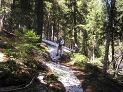 Some snow still on the trail on back side of Iron Bear