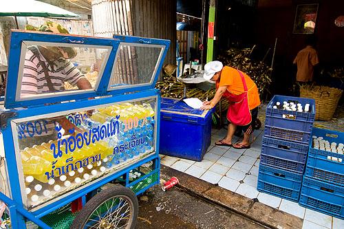 A sugar cane juice depot at Nang Loeng Market, Bangkok