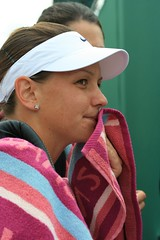 Casey Dellacqua, post match, victorious (eWah_photo) Tags: london championship towel player tennis tournament winner 2008 wimbledon pleased