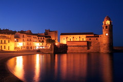 Collioure At Night (Alan1954) Tags: sea mer holiday france tower church water night reflections collioure 2008 nighshot iloveit blueribbonwinner coth 5photosaday mywinners mywinner abigfave top20travel diamondclassphotographer flickrdiamond beautysecrets colourartaward theperfectphotographer goldstaraward funfanphotos flickrbestpics 100commentgroup 100comment purpleheartaward platinumpeaceaward
