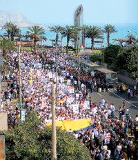 Avenida Larco frente al Oceano Pacifico en Marcha por la Paz