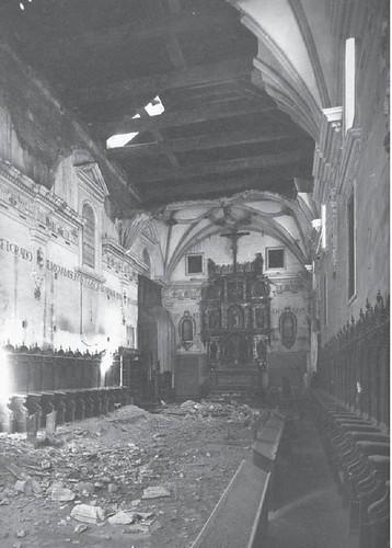Destrozos en la Guerra Civil en el Convento de San Clemente de Toledo. Coro.