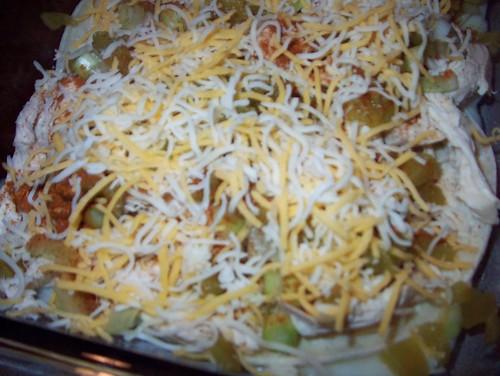 enchilada lasagna assembling