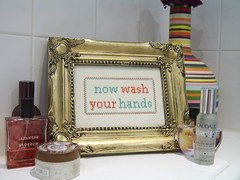 Now Wash Your Hands (The Bellwether) Tags: cool interiors sampler handmade embroidery kitsch homewares indiedesigner nowwashyourhands misofunky emobroidery