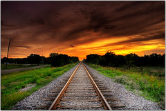 I Never Follow Directions (Extra Medium) Tags: railroad sunset evening scenery texas hdr railroadtracks ileftthepowerlinesinonpurpose thisoneisforbernie