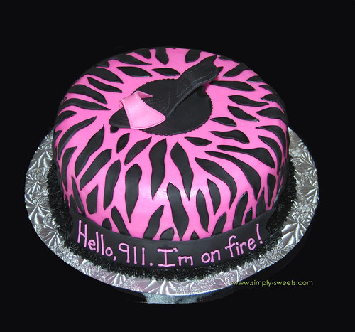 pink and black zebra with sugar high heel shoe bachelorette cake