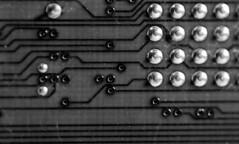 Lines - IBM (evilapekatt) Tags: macro computer ancient ibm motherboard circuitboard computerparts 386 7daysofshooting monomonday week5silverandgold