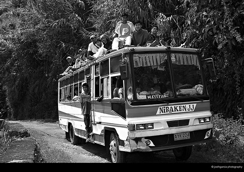 bus commuting on top  Batad, BanauePhilippines Buhay Pinoy  Ngayon Filipino Pilipino  people pictures photos life Philippinen  roof