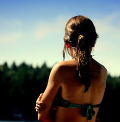 The sun was shining, the water was warm ...it was a beautiful day (Maureen F.) Tags: summer sky wet water girl cottage muskoka 2008 mywinners platinumheartaward treelinebokeh