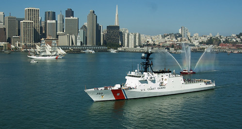 SAN FRANCISCO -- U.S. Coast Guard cutter Bertholf approaches U.S. Coast Guard cutter Eagle in the San Francisco Bay here July 23.  This represents the first time the oldest built cutter and the newest built cutter in the Coast Guard have transited together. U.S.C.G. photo