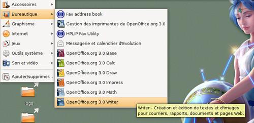Menu d'OpenOffice.org 3.0rc2 sous Ubuntu 8.04.1 LTS
