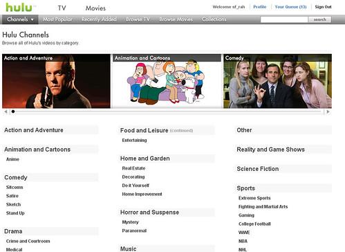 Hulu Channels Page