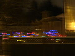 Racing Stars (7.7% Ginger Beer) Tags: snow cold color stars blurry surrey neighbor christmaslight