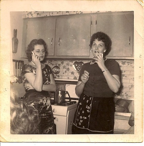 Mundelein, IL, My grandma Jean and her sister. She apparently had a suitcase of pills. Yeah, that's what doctors did for stressed out, suburban housewives in the 50s.  - whatchumean via Flickr
