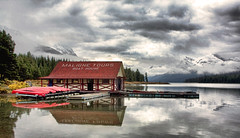 Maligne Lake Boat House (sminky_pinky100 (In and Out)) Tags: house lake canada mountains water clouds rockies boat jasper alberta hdr malignelake personalbest 5photosaday omot eyejewel amazingalberta