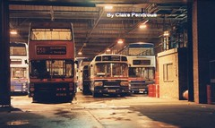 The last night of bus operations from Cleveland Road Garage, Wolverhampton, 1993 (Lady Wulfrun) Tags: street bus buses october garage 1993 operations services lastnight metrobus twm mcw nationa bilston 3111 wmt layland mk2a clevelandroad g111fjw