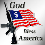 God Bless America - American Flag with M4A1 Rifle and Dollar sign