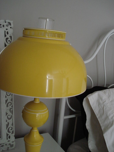 Bedside yellow lamp