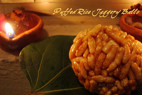Puffed Rice Jaggery Balls front of Deepam
