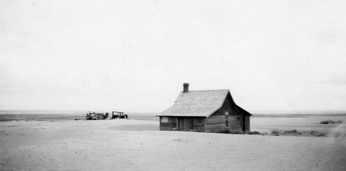 Drifted soil near Cadillac, 1937: a common sight during the Great Depression. Saskatchewan Archives Board R-A3368