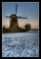 Mill and Ice (Focusje (tammostrijker.photodeck.com)) Tags: winter sunset holland mill ice netherlands windmill dutch frost skating nederland scratch 2009 hdr kinderdijk ijs schaatsen zuidholland singleimage winter20082009